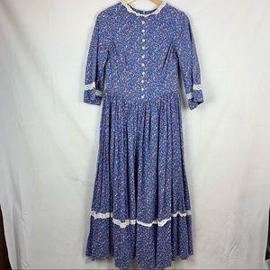 VINTAGE Blue Floral Prairie Maxi Dress XS